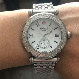 Michele Caber Watch w/ Diamonds &Extra Patent Band